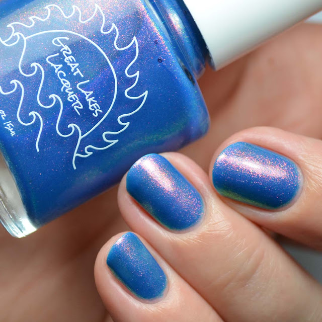 ocean blue nail polish with aurora shimmer