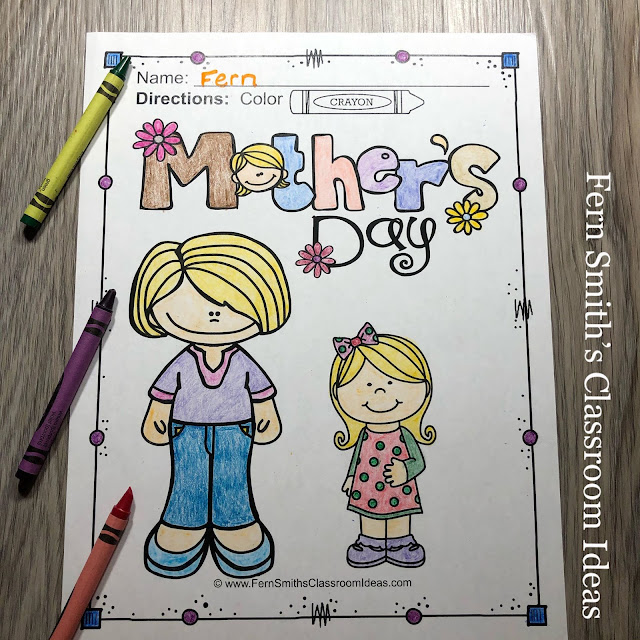 Mother's Day Coloring Book Pages #FernSmithsClassroomIdeas