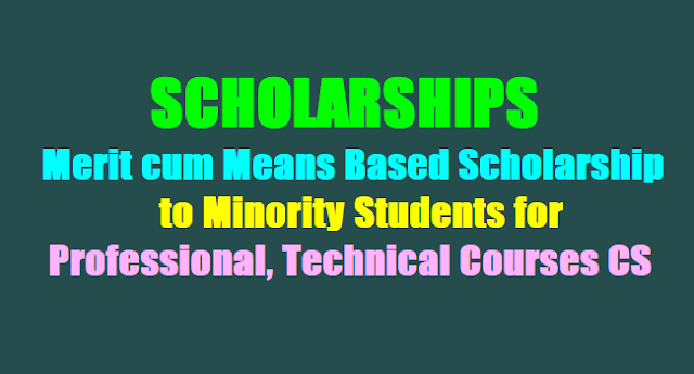 SCHOLARSHIPS,Merit cum Means Based Scholarship to Minority Students for Professional, Technical Courses CS