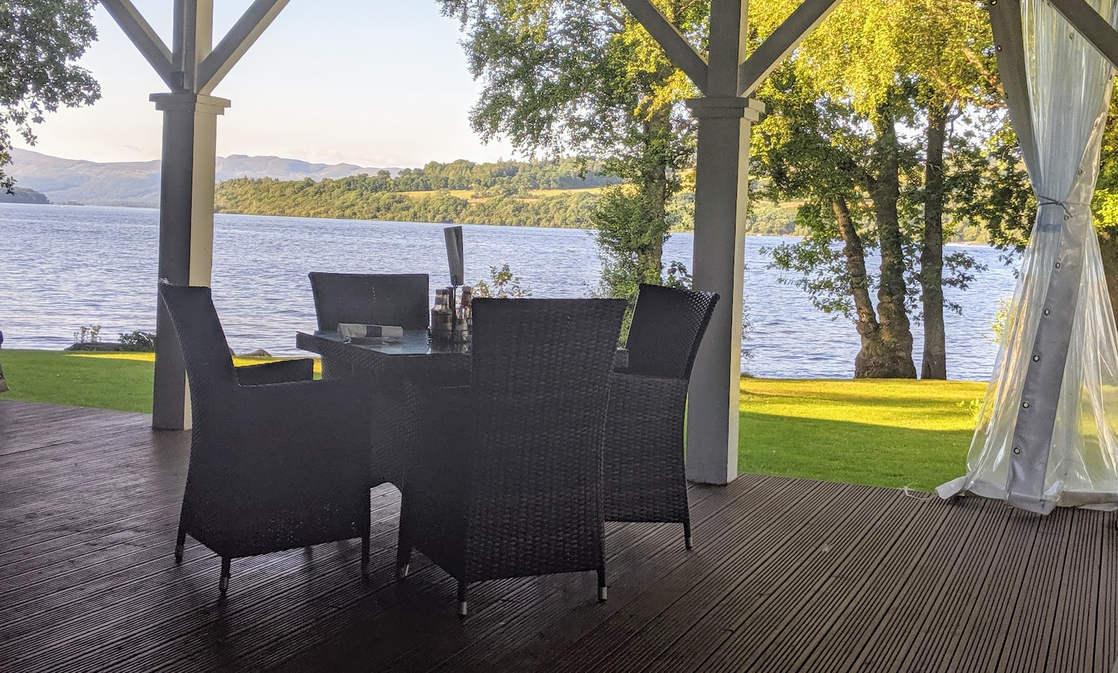 A Short Break at Cameron Lodges, Loch Lomond - the boat house - decking overlooking loch lomond