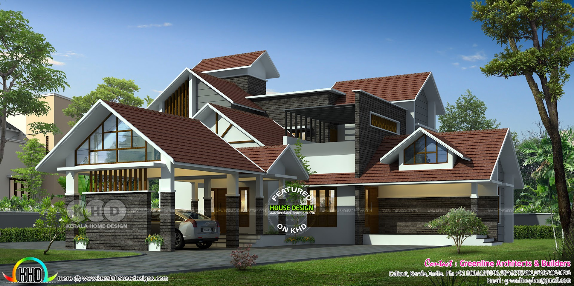 3308 Square Feet Sloped Roof House Architecture Kerala Home Design Bloglovin