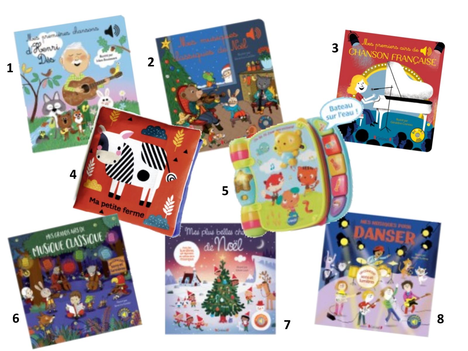 idées cadeaux sélection enfant bébé noel 6 à 12 mois jouets éveil petit prix livres sonores grund