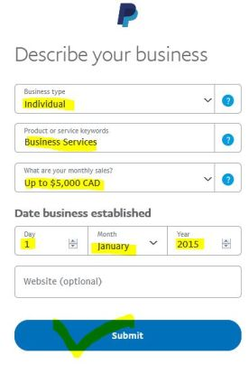 business detail writing for create paypal in Bangladesh
