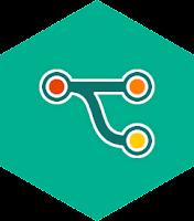 MergeMachine's logo (a branch splitting from main)