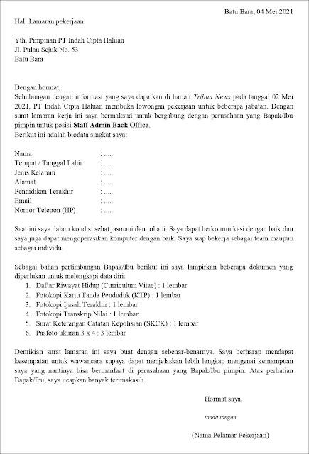 Contoh Surat Lamaran Kerja Untuk Staff Admin Back Office (Fresh Graduate)