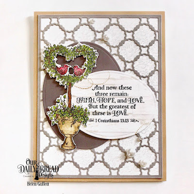 Our Daily Bread Designs Stamp Set: Happy Wedding Day, Custom Dies: Scalloped Chain, Heart Topiary, Ovals, Paper Collection: Wedding Wishes