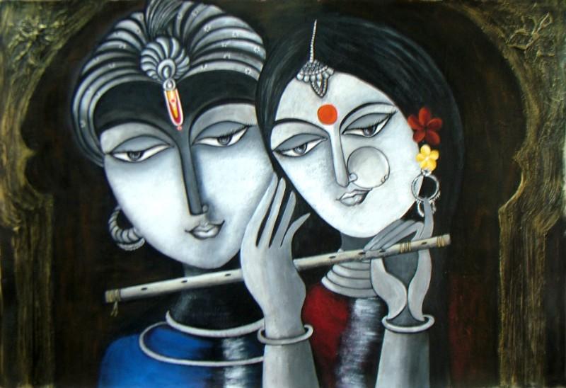 radha krishna paintings on canvas pic hd download