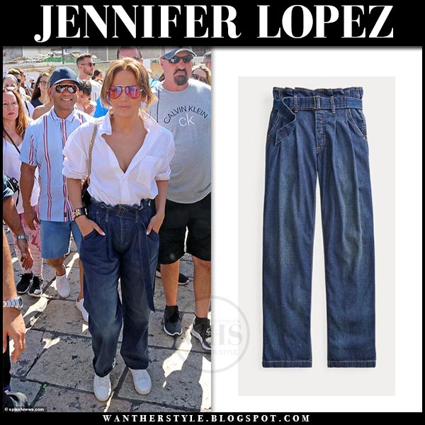 Jennifer Lopez In Paper Bag Jeans And White Shirt In Jerusalem On August 2 I Want Her Style What Celebrities Wore And Where To Buy It Celebrity Style