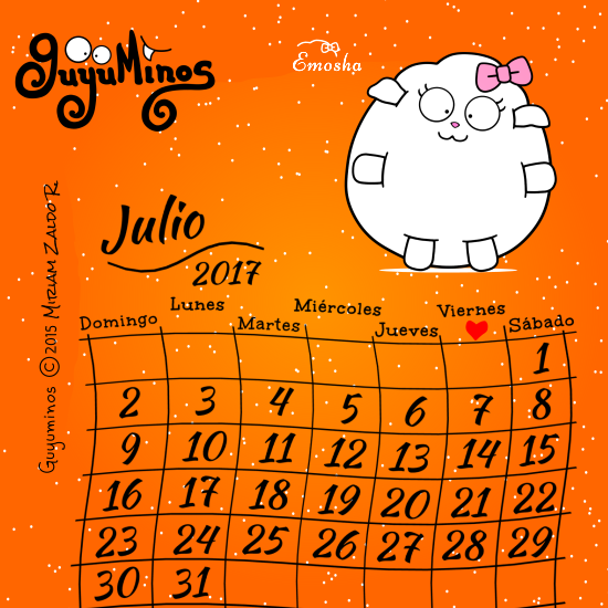 calendario mes julio 2017 oveja blanca guyuminos ilustracion frases tarjetas tierno