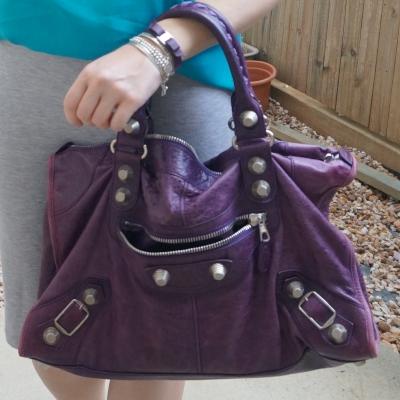 Balenciaga raisin purple 2009 giant silver G21 hardware work bag | awayfromtheblue