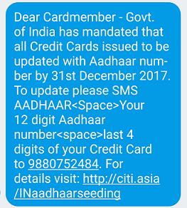 Link Aadhaar to Citibank Credit Card