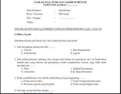Soal PAS Seni Budaya (SBK) Kelas 7 K13 (PG+Essay) Sem.1/Ganjil