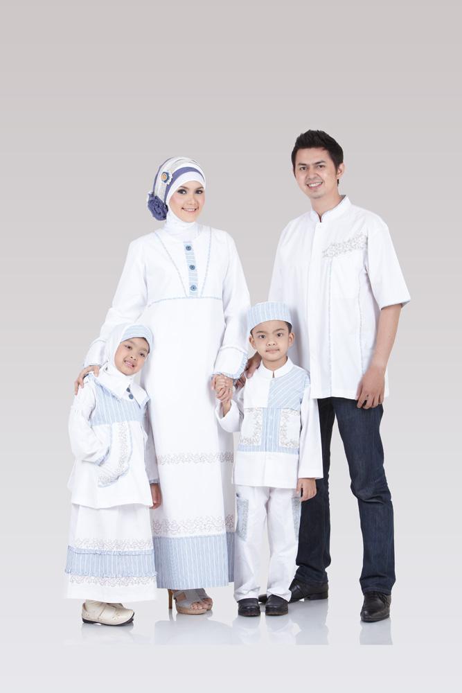 Model Busana Muslim Keluarga Warna Putih Terbaru