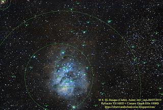 En la toma aparecen varios objetos que etiqueto abajo, en concreto aparecen el NGC 6544, NGC 6530, NGC 6533, NGC 6526 y M 8.