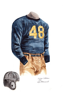 1932 University of Michigan Wolverines football uniform original art for sale
