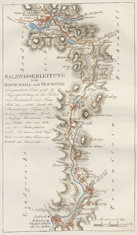 Karte der Soleleitung von Adrian von Riedl (1796)
