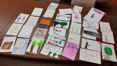 Colorful thank you notes from third graders to PA Lumber Museum