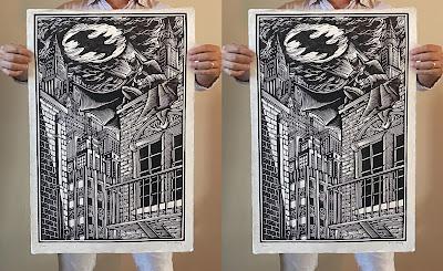"Batman ""Crime Alley"" Linocut Print by Brian Reedy x Bottleneck Gallery"
