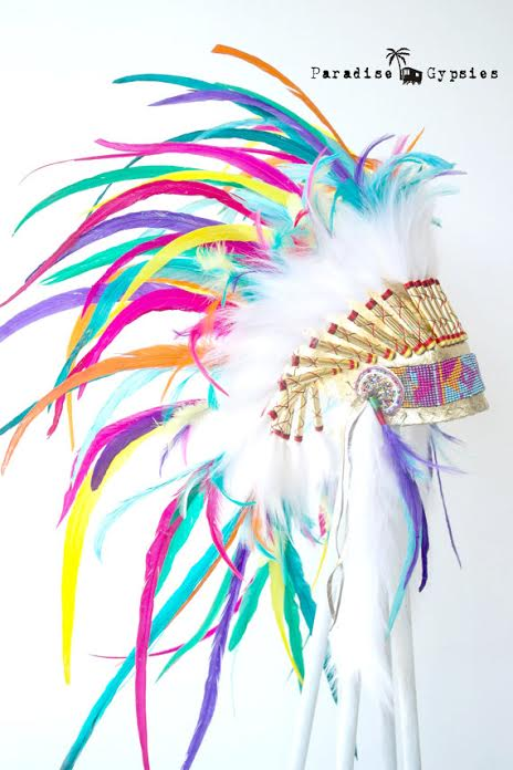Paradise Gypsies Rainbow Feather Headdress Warbonnet Kids Adult Festival Love Fun Costume