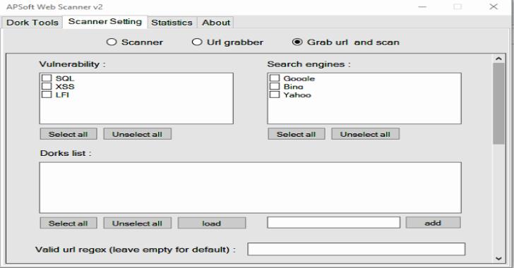 APSoft Web Scanner V2 : Powerful Dork Searcher & Vulnerability Scanner For Windows Platform