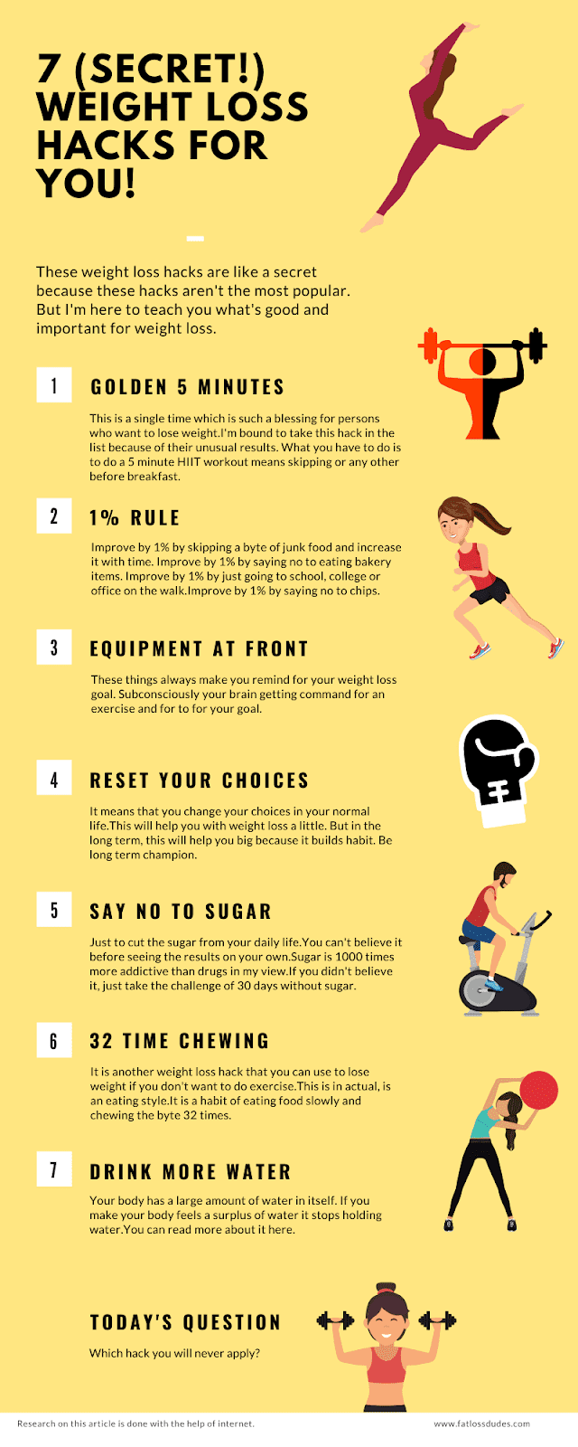 WEIGHT LOSS HACKS INFOGRAPHICS