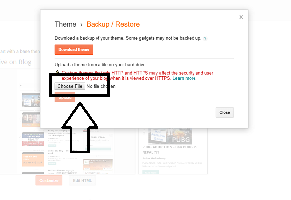How To Upload Custom Template To Blogger, choose xml file, anil pathak, pathaks blog