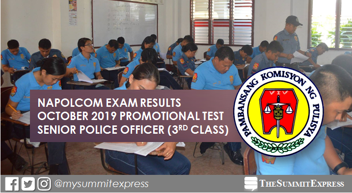 LIST OF PASSERS: Senior Police Officer (3rd Class) NAPOLCOM Exam Result October 2019