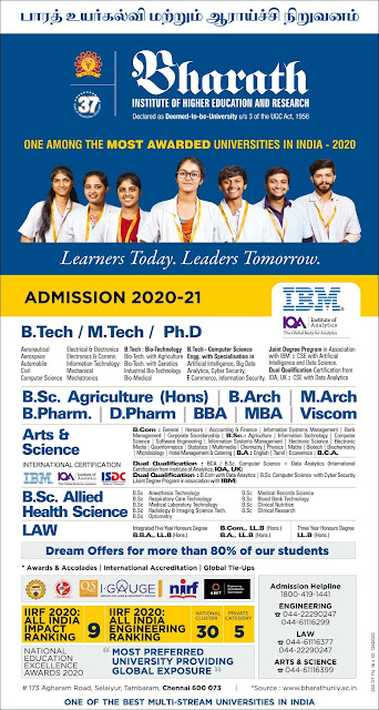 BHARATH INSTITUTE OF HIGHER EDUCATION AND RESEARCH ADMISSION 2020