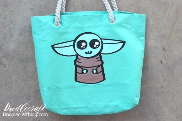 Baby Yoda The Child from Star Wars the Mandalorian Layered Cricut Iron-On Vinyl Tote Bag DIY