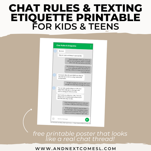 Free printable list of chat room rules and digital etiquette rules for teens and tweens
