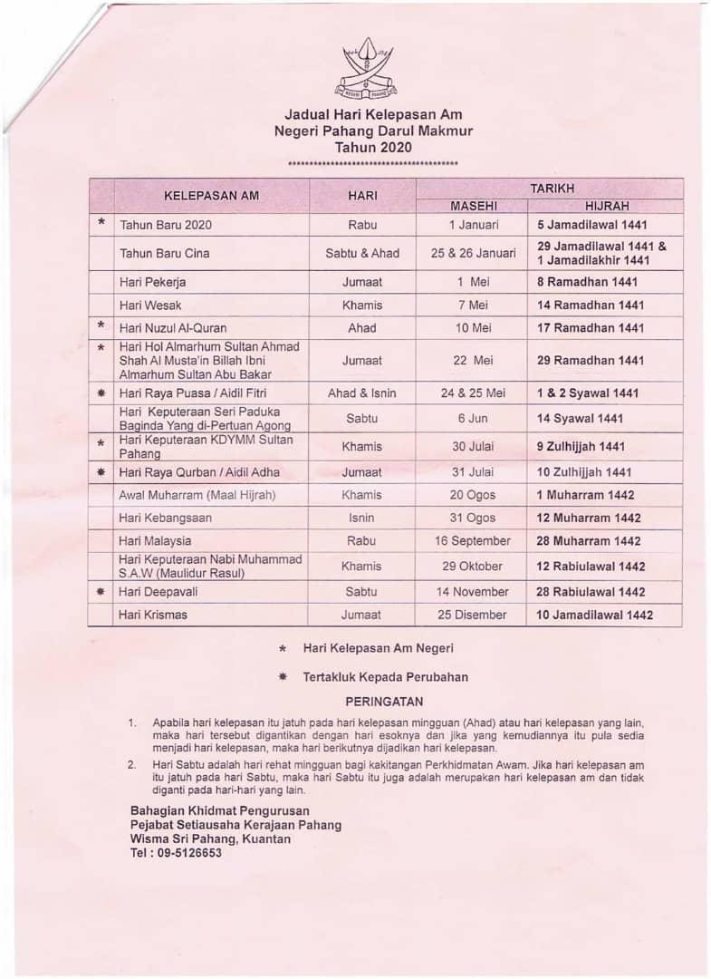 Jadual Hari Kelepasan Am Negeri Pahang 2020 Persatuan Guru Guru Sar Kafa Daerah Kuantan