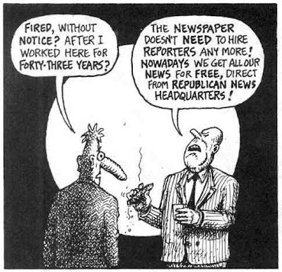 """Wonder Warthog comic from Zap #16: Philbert DeSanex asking why he's being tired then told  being told by his boss: """"The Newspaper doesn't need to hire reporters anymore! Nowadays we get all our news for free, direct from Republican News Headquarters!"""""""