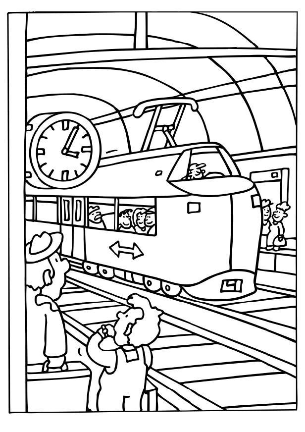 Colorear Tren En La Estacion Del Tren