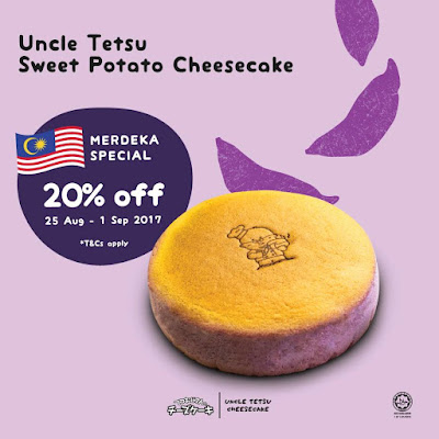 Uncle Tetsu's Sweet Potato Cheesecake Discount Offer Merdeka Promo