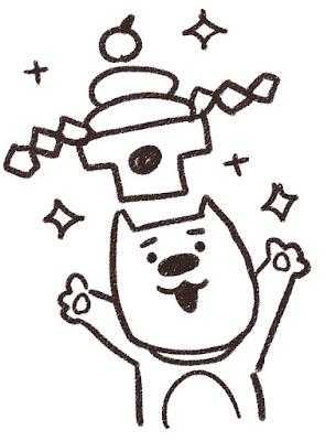 鏡餅を掲げる犬のイラスト(戌年)白黒線画