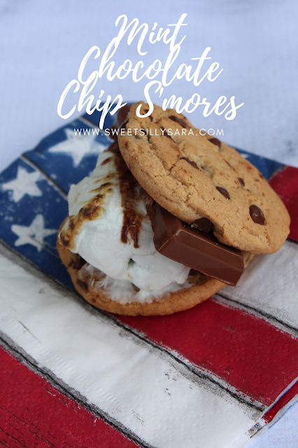 mint chocolate chip marshmallow melted between milk chocolate and chocolate chip cookies