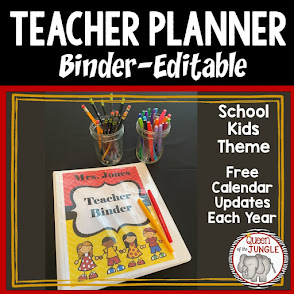 Editable Teacher Planner Binder - School Kids Theme