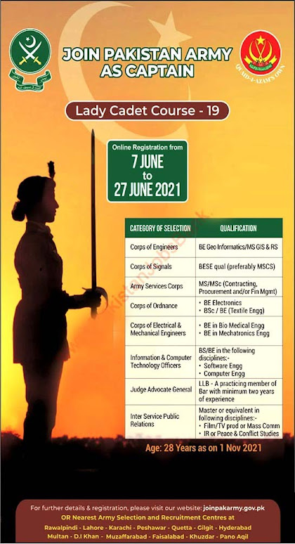 Join Pakistan Army as Captain through Lady Cadet Course  June 2021- Apply online