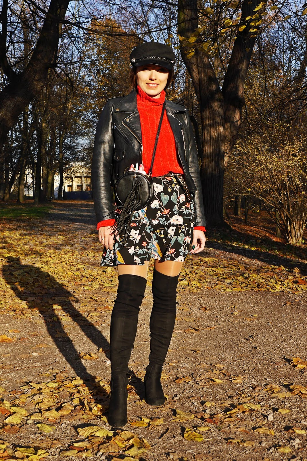 floral dress red sweater biker jacket high knee boots karyn fashion blogger outfit look autumn