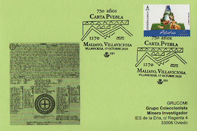 filatelia, matasellos, tarjeta, Villaviciosa, Carta Puebla