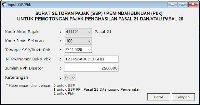 contoh spt pph 21