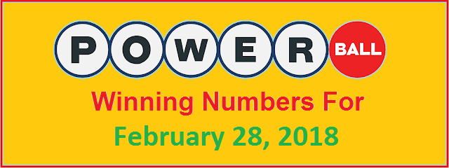 PowerBall Winning Numbers for Wednesday, 28 February 2018