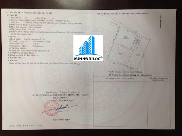 Sổ đỏ căn hộ 203 tầng 2 của chủ hộ Văn Thu Hương đã nhận