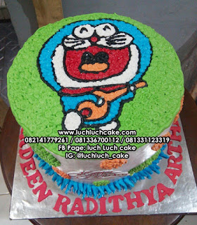 Happy Doraemon Birthday Cake Buttercream