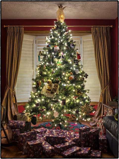 Christmas scene with tree, angel and presents