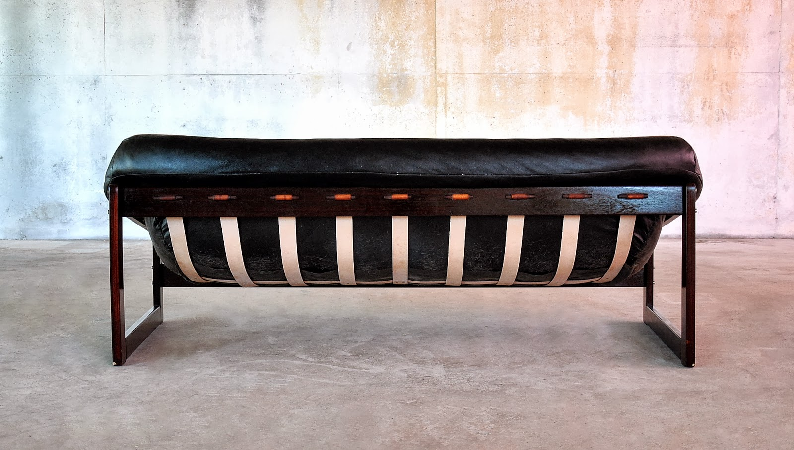 Percival Lafer Sofa Modern Black Leather With Chrome Legs Select
