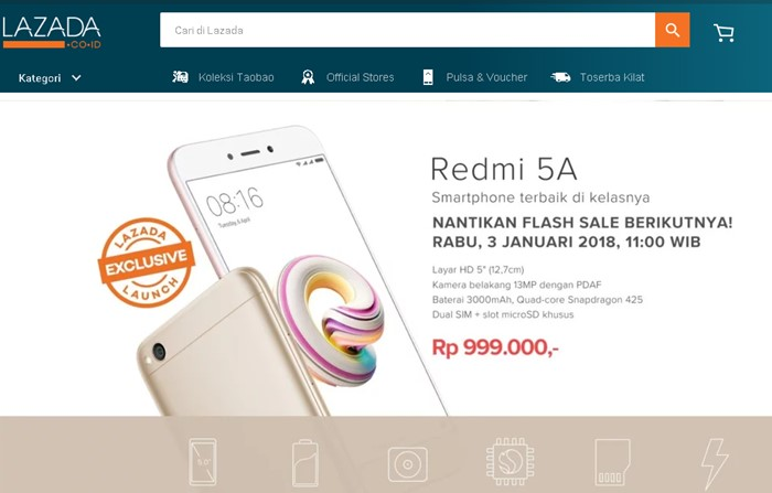 Flash Sale Xiaomi Redmi 5A di Lazada - Lazada.co.id