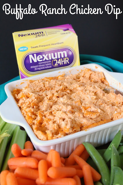 Buffalo Ranch Chicken Dip #MakeHeartburnHistory