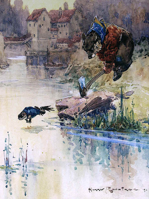 a Harry Rountree illustration, frog and bear