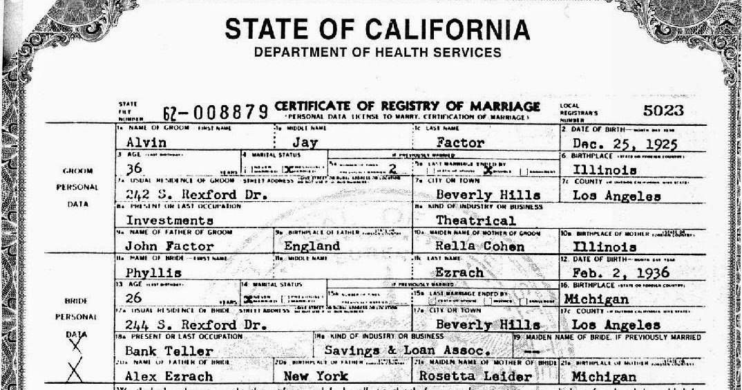 state of california marriage license records